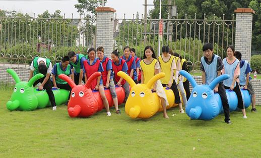 趣味运动会【毛毛虫】充气竞速旱地龙舟户外团队亲子拓展游戏